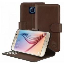 """Odinis rudas atverčiamas dėklas Samsung Galaxy S6 telefonui """"Bugatti Milano"""""""