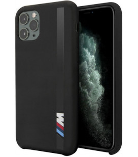 "Juodas dėklas Apple iPhone 11 Pro telefonui ""BMHCN58SITLBK BMW Vertical Stripe Silicone Cover"""