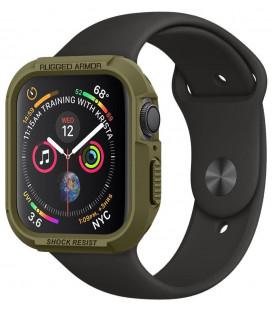 """Žalias dėklas Apple Watch 4/5/6/SE (44mm) laikrodžiui """"Spigen Rugged Armor"""""""
