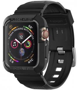 """Juodas dėklas Apple Watch 4 / 5 / 6 / 7 / SE (44 / 45 mm) laikrodžiui """"Spigen Rugged Armor PRO"""""""