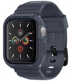 """Pilkas dėklas Apple Watch 4/5/6/SE (44mm) laikrodžiui """"Spigen Rugged Armor PRO"""""""