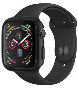 "Juodas dėklas Apple Watch 4/5 (44mm) laikrodžiui ""Spigen Thin Fit"""
