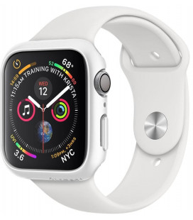 """Baltas dėklas Apple Watch 4/5/6/SE (44mm) laikrodžiui """"Spigen Thin Fit"""""""