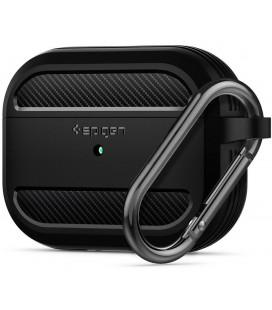"""Juodas dėklas Apple Airpods Pro ausinėms """"Spigen Rugged Armor"""""""
