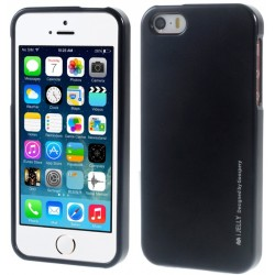 "Juodas silikoninis dėklas Apple iPhone 5/5s/SE telefonui ""Mercury iJelly Case Metal"""