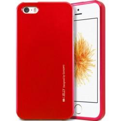 """Raudonas silikoninis dėklas Apple iPhone 5/5s/SE telefonui """"Mercury iJelly Case Metal"""""""
