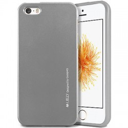 "Pilkas silikoninis dėklas Apple iPhone 5/5s/SE telefonui ""Mercury iJelly Case Metal"""