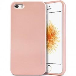 """Rausvai auksinės spalvos silikoninis dėklas Apple iPhone 5/5s/SE telefonui """"Mercury iJelly Case Metal"""""""