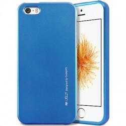 "Mėlynas silikoninis dėklas Apple iPhone 5/5s/SE telefonui ""Mercury iJelly Case Metal"""