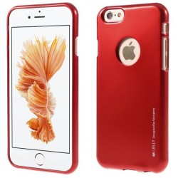 "Raudonas silikoninis dėklas Apple iPhone 6/6s telefonui ""Mercury iJelly Case Metal"""
