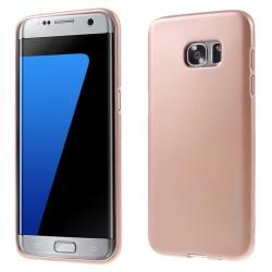 """Rausvai auksinės spalvos silikoninis dėklas Samsung Galaxy S7 Edge G935 telefonui """"Mercury iJelly Case Metal"""""""