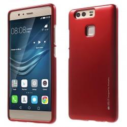 """Raudonas silikoninis dėklas Huawei P9 telefonui """"Mercury iJelly Case Metal"""""""