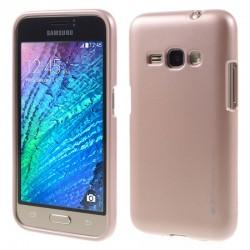 """Rausvai auksinės spalvos silikoninis dėklas Samsung Galaxy J1 2016 J120 telefonui """"Mercury iJelly Case Metal"""""""