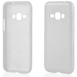 """Baltas silikoninis dėklas Samsung Galaxy J1 2016 J120 telefonui """"Jelly Metallic"""""""