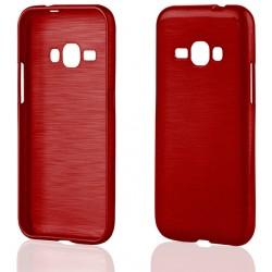 """Raudonas silikoninis dėklas Samsung Galaxy J1 2016 J120 telefonui """"Jelly Metallic"""""""