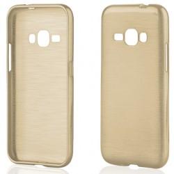 """Auksinės spalvos silikoninis dėklas Samsung Galaxy J1 2016 J120 telefonui """"Jelly Metallic"""""""