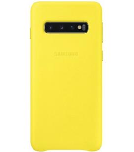 """Originalus geltonas dėklas """"Leather Cover"""" Samsung Galaxy S10 telefonui """"EF-VG973LYE"""""""