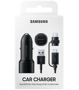 """Originalus automobilinis Samsung juodas 2xUSB pakrovėjas 15W ir USB laidas 12v/24v """"EP-L1100WBE"""""""