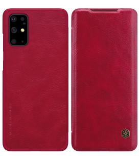 """Odinis raudonas atverčiamas dėklas Samsung Galaxy S20 Plus telefonui """"Nillkin Qin"""""""