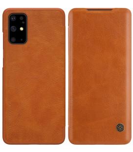 """Odinis rudas atverčiamas dėklas Samsung Galaxy S20 Plus telefonui """"Nillkin Qin"""""""