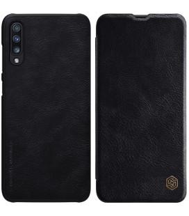 """Odinis juodas atverčiamas dėklas Samsung Galaxy A70 telefonui """"Nillkin Qin"""""""