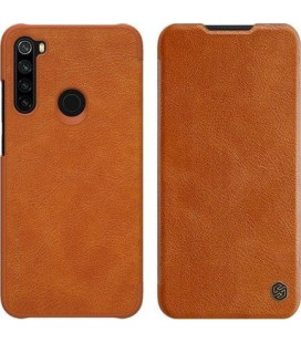 """Odinis rudas atverčiamas dėklas Xiaomi Redmi Note 8 telefonui """"Nillkin Qin"""""""