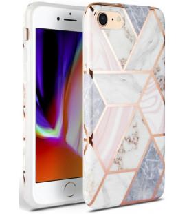 """Rožinis dėklas su marmuro efektu Apple iPhone 7/8/SE 2020 telefonui """"Tech-Protect Marble"""""""