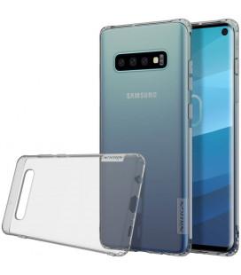 """Skaidrus/pilkas silikoninis dėklas Samsung Galaxy S10 telefonui """"Nillkin Nature"""""""