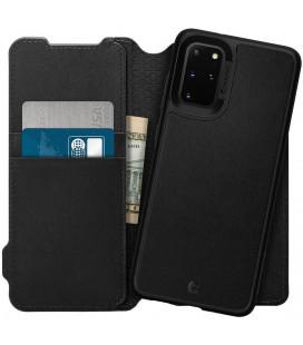 "Juodas atverčiamas dėklas Samsung Galaxy S20 Plus telefonui ""Spigen Ciel Wallet Brick"""