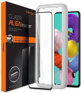 """Juodas apsauginis grūdintas stiklas Samsung Galaxy A51 telefonui """"Spigen AlignMaster Glas tR"""""""