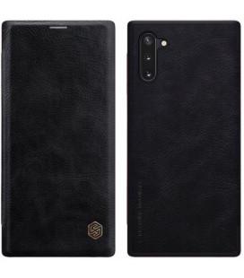 """Odinis juodas atverčiamas dėklas Samsung Galaxy Note 10 telefonui """"Nillkin Qin"""""""
