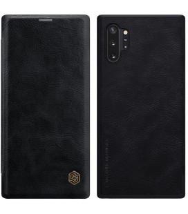 """Odinis juodas atverčiamas dėklas Samsung Galaxy Note 10 Plus telefonui """"Nillkin Qin"""""""