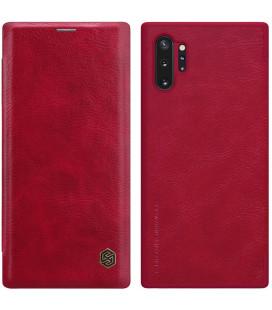 """Odinis raudonas atverčiamas dėklas Samsung Galaxy Note 10 Plus telefonui """"Nillkin Qin"""""""
