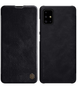"""Odinis juodas atverčiamas dėklas Samsung Galaxy A71 telefonui """"Nillkin Qin"""""""