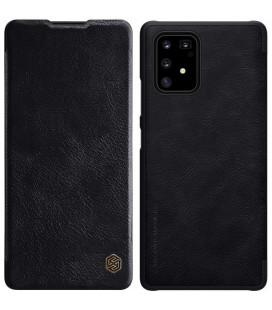 """Odinis juodas atverčiamas dėklas Samsung Galaxy S10 Lite telefonui """"Nillkin Qin"""""""