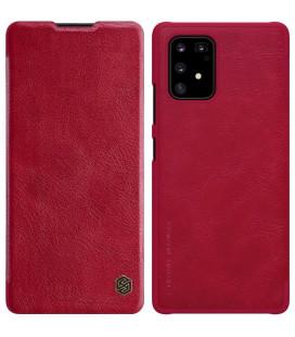 """Odinis raudonas atverčiamas dėklas Samsung Galaxy S10 Lite telefonui """"Nillkin Qin"""""""