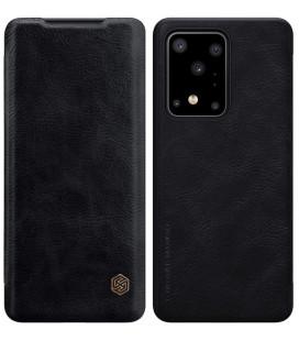 """Odinis juodas atverčiamas dėklas Samsung Galaxy S20 Ultra telefonui """"Nillkin Qin"""""""