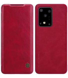 """Odinis raudonas atverčiamas dėklas Samsung Galaxy S20 Ultra telefonui """"Nillkin Qin"""""""