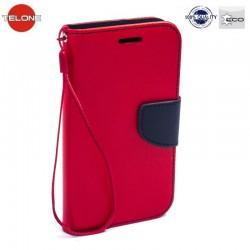 """Raudonas atverčiamas dėklas Huawei P9 Lite telefonui """"Telone Fancy"""""""