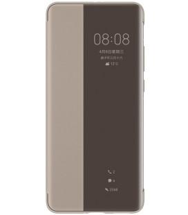 """Originalus Rudas (Khaki) atverčiamas dėklas Huawei P40 Pro telefonui """"S-View Case"""""""