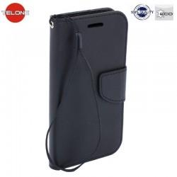 """Juodas atverčiamas dėklas Huawei P9 Lite telefonui """"Telone Fancy"""""""