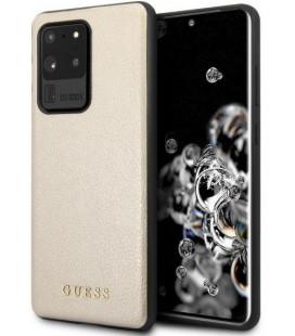 """Auksinės spalvos dėklas Samsung Galaxy S20 Ultra telefonui """"GUHCS69IGLGO Guess Iridescent Cover"""""""