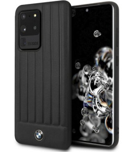 "Juodas dėklas Samsung Galaxy S20 Ultra telefonui ""BMHCS69POCBK BMW Leather Lines Cover"""