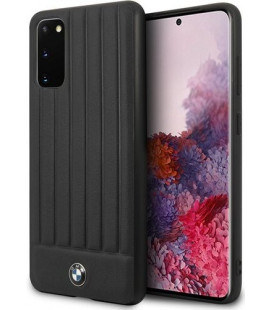 "Juodas dėklas Samsung Galaxy S20 telefonui ""BMHCS62POCBK BMW Leather Lines Cover"""