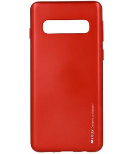 """Raudonas silikoninis dėklas Samsung Galaxy S10 telefonui """"Mercury iJelly Case Metal"""""""