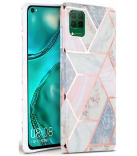 """Rožinis dėklas su marmuro efektu Huawei P40 Lite telefonui """"Tech-Protect Marble"""""""