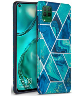 "Mėlynas dėklas su marmuro efektu Huawei P40 Lite telefonui ""Tech-Protect Marble"""