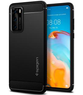 """Juodas dėklas Huawei P40 telefonui """"Spigen Rugged Armor"""""""
