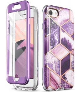 """Purpurinis dėklas su marmuro efektu Apple iPhone 7/8/SE 2020 telefonui """"Supcase Cosmo"""""""