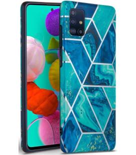 "Mėlynas dėklas su marmuro efektu Samsung Galaxy A71 telefonui ""Tech-Protect Marble"""